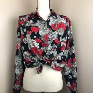 Vintage Rosie paisley silky black & white